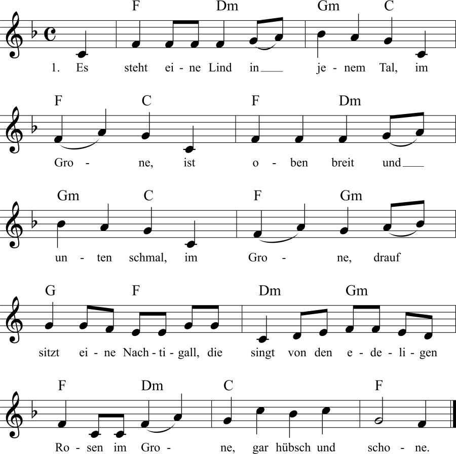 Musiknoten zum Lied Es steht eine Lind in jenem Tal