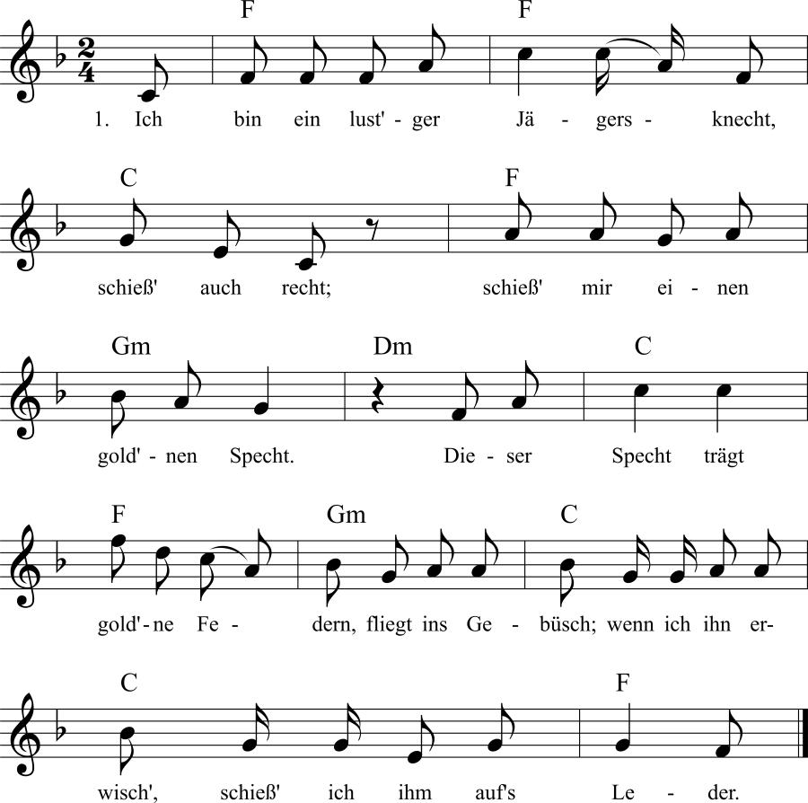 Musiknoten zum Lied Ich bin ein lust'ger Jägersknecht