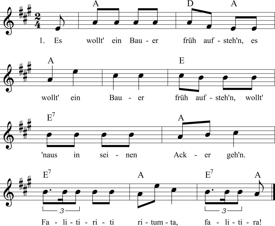 Musiknoten zum Lied Es wollt' ein Bauer früh aufstehn