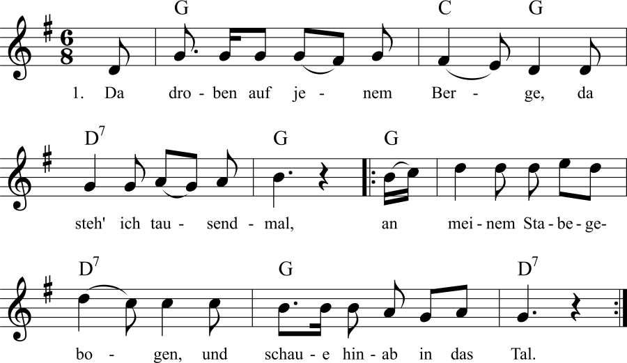 Musiknoten zum Lied Da droben auf jenem Berge