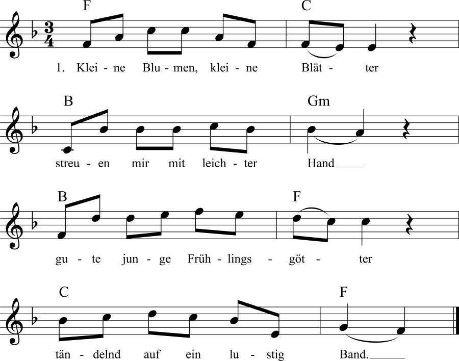 Musiknoten zum Lied Kleine Blumen, kleine Blätter