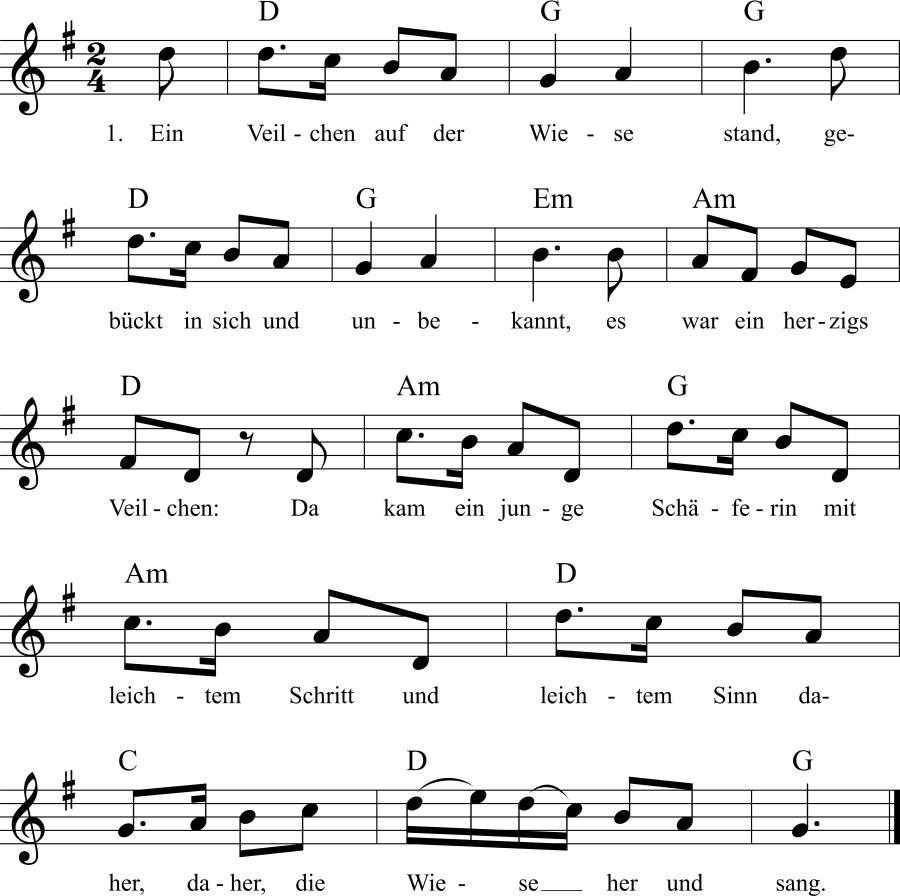 Musiknoten zum Lied Ein Veilchen auf der Wiese stand