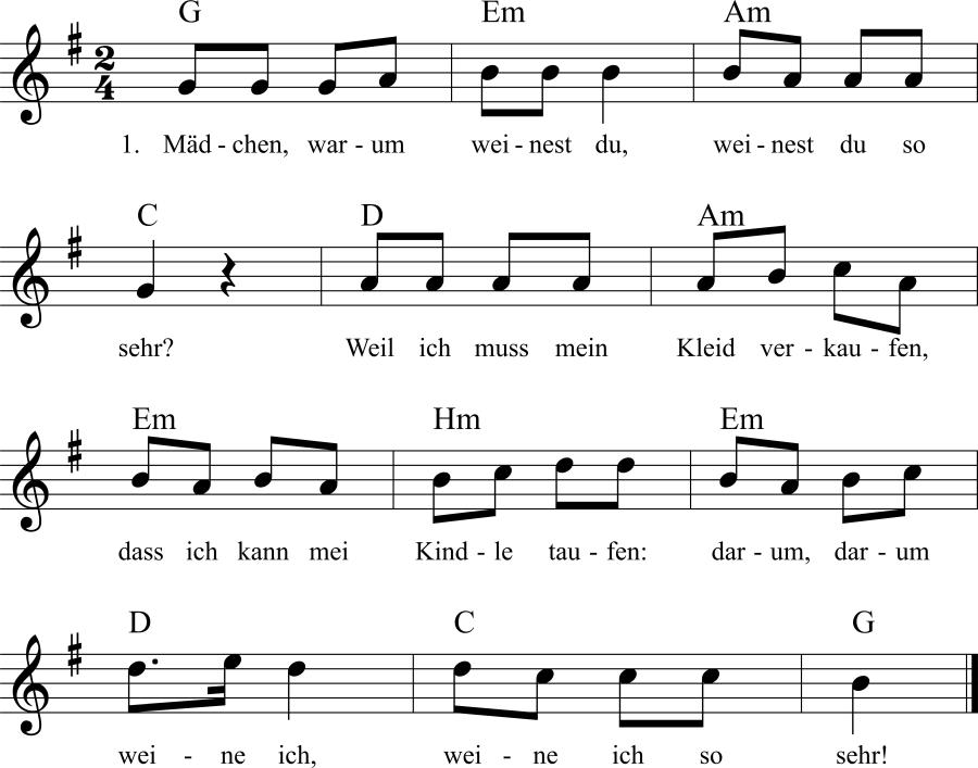 Musiknoten zum Lied Mädchen, warum weinest du