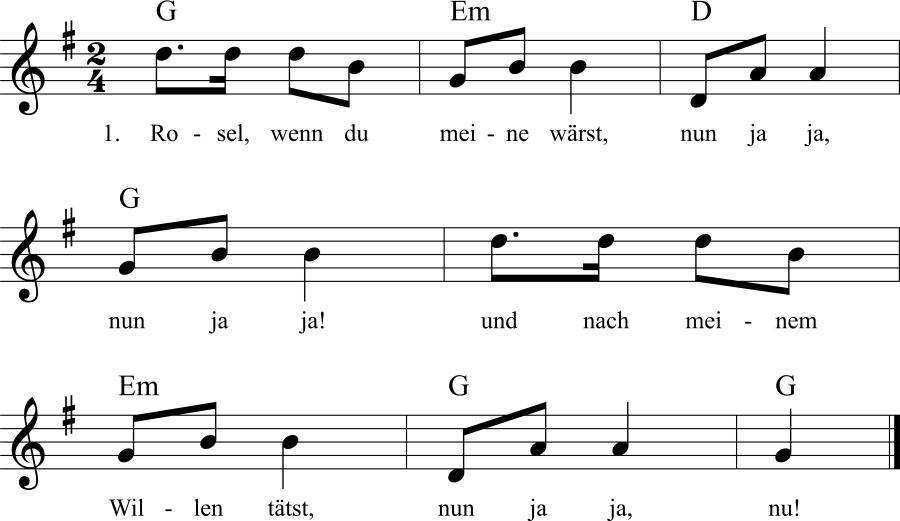 Musiknoten zum Lied Rosel, wenn du meine wärst