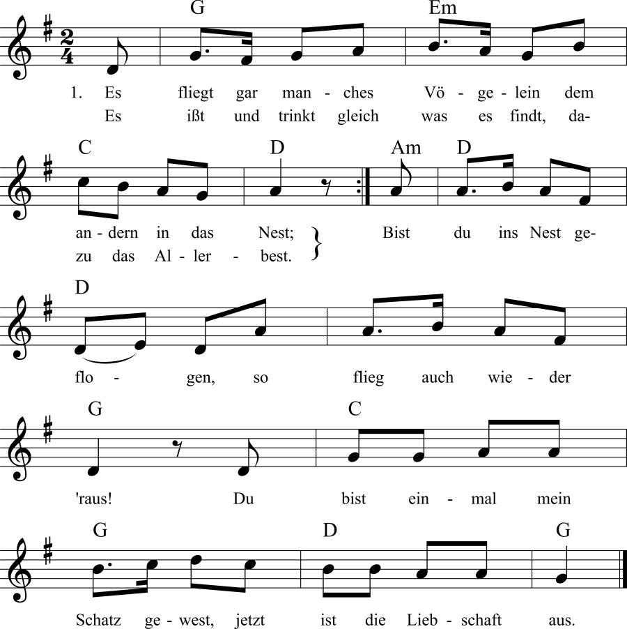Musiknoten zum Lied Es fliegt gar manches Vögelein
