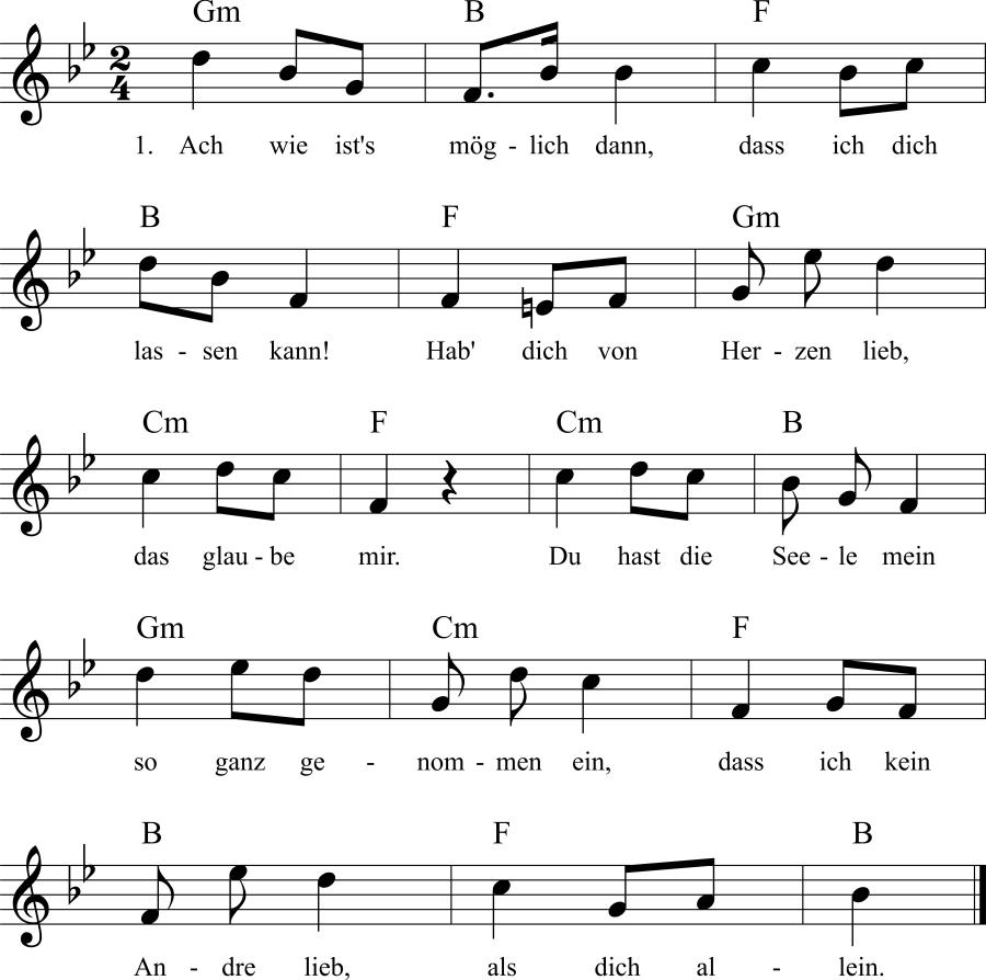Musiknoten zum Lied Ach wie ist's möglich