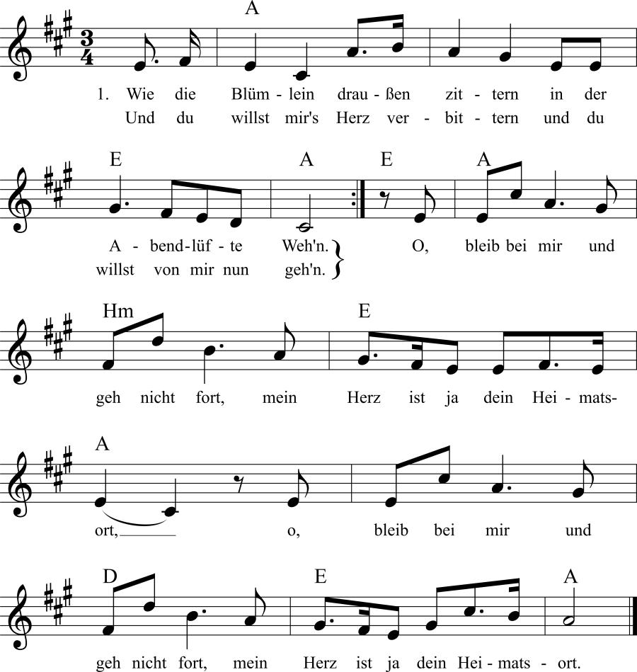 Musiknoten zum Lied Wie die Blümlein draußen zittern