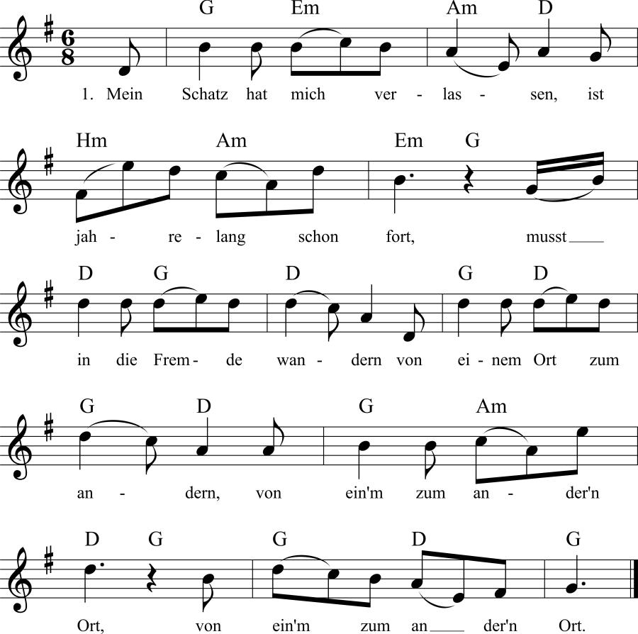Musiknoten zum Lied Mein Schatz hat mich verlassen