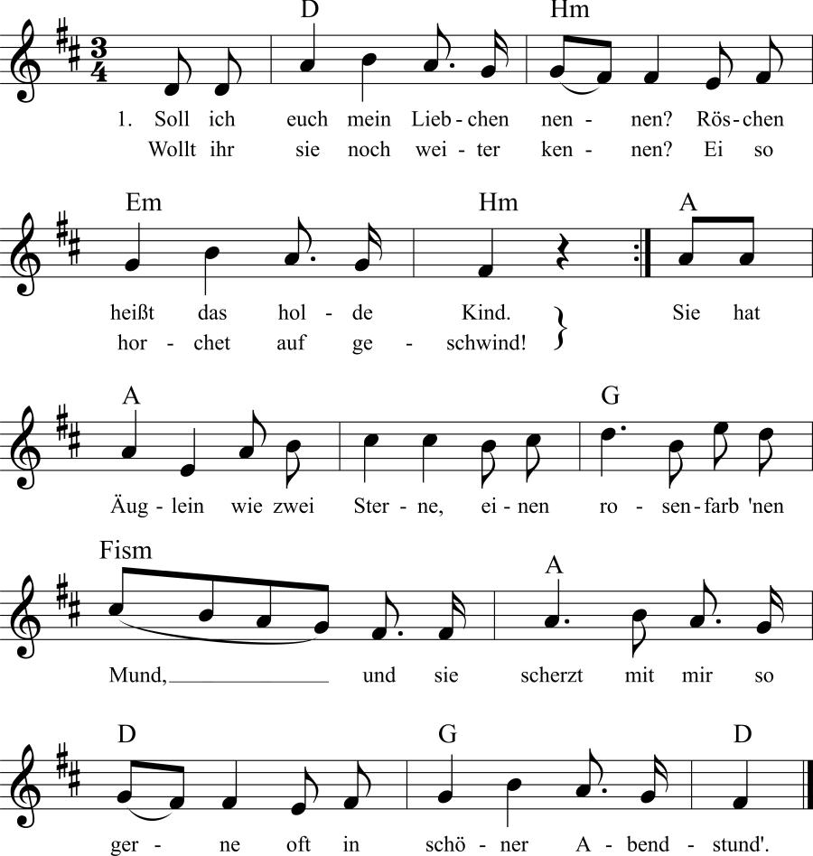 Musiknoten zum Lied Soll ich euch mein Liebchen nennen?