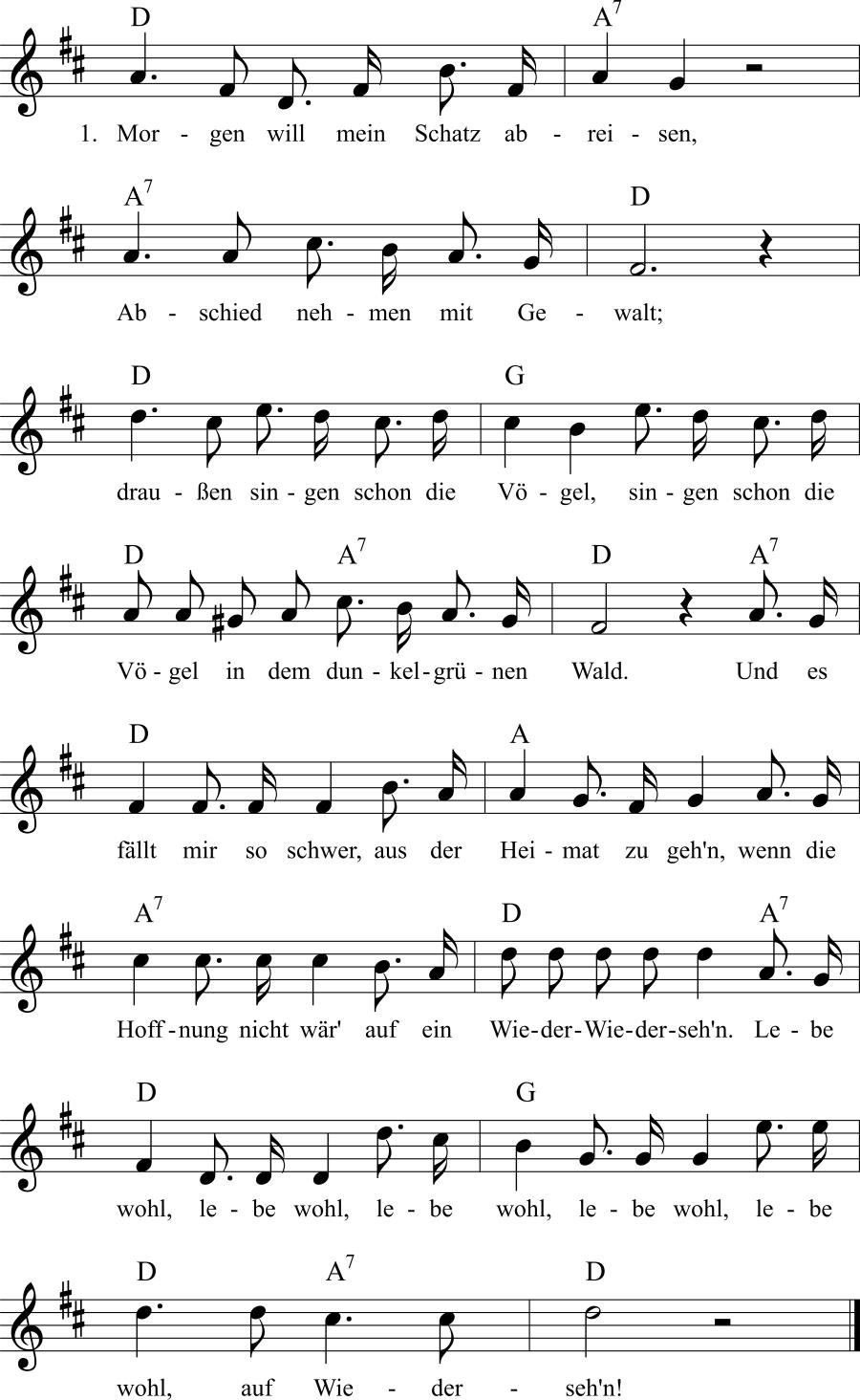 Musiknoten zum Lied Morgen will mein Schatz abreisen