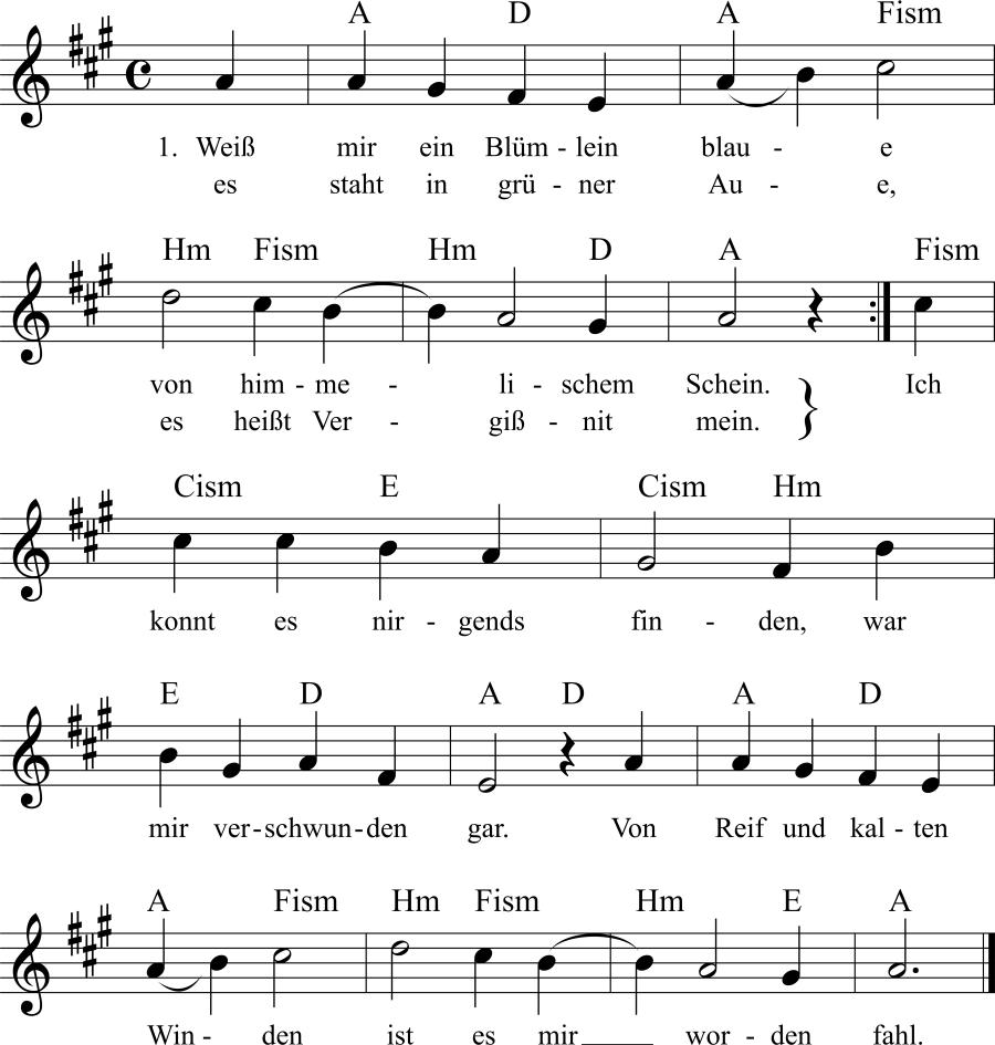 Musiknoten zum Lied Weiß mir ein Blümlein blaue