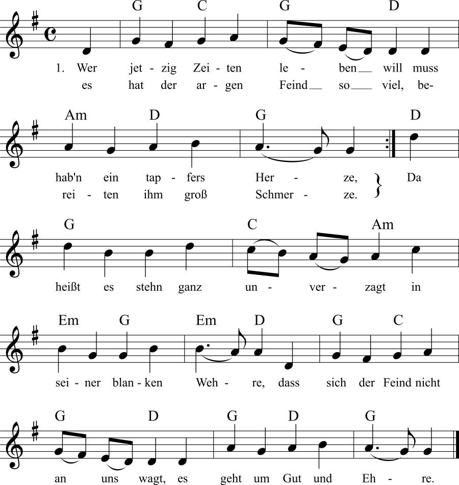 Musiknoten zum Lied Wer jetzig Zeiten leben will