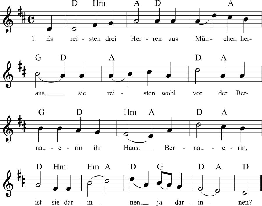 Musiknoten zum Lied Es reisten drei Herren nach München heraus