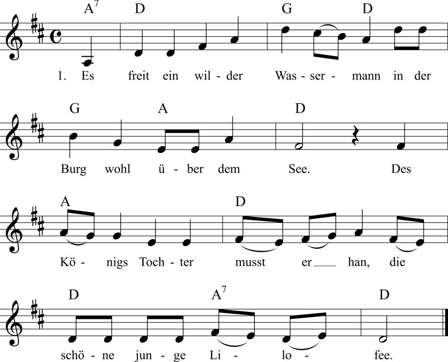 Musiknoten zum Lied Es freit ein wilder Wassermann