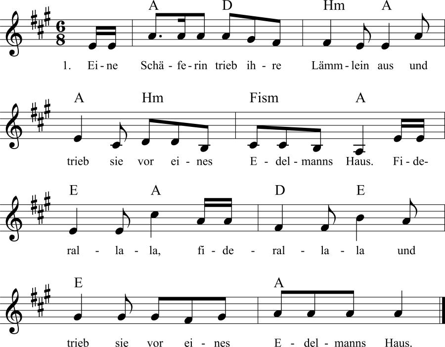 Musiknoten zum Lied Eine Schäferin trieb ihre Lämmlein aus