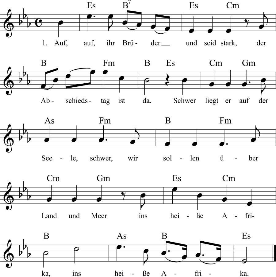 Musiknoten zum Lied Auf, auf, ihr Brüder, und seid stark