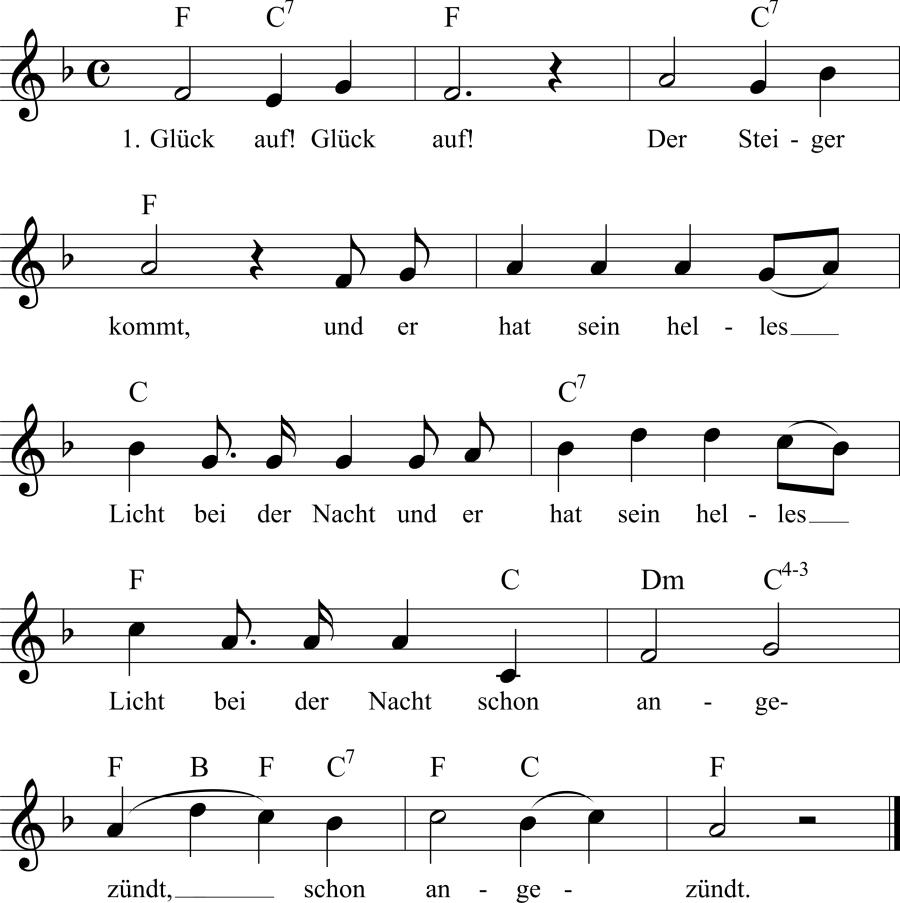 Musiknoten zum Lied Glück auf! Glück auf!