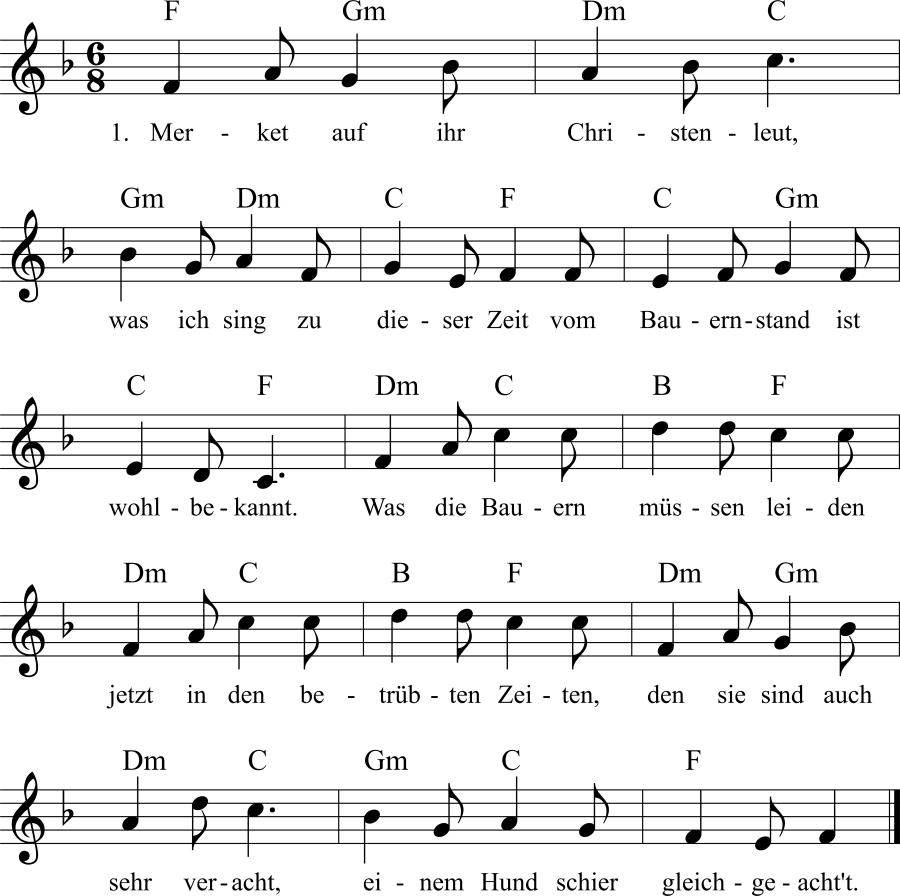 Musiknoten zum Lied Merket auf ihr Christenleut