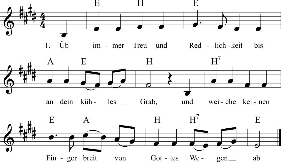 Musiknoten zum Lied Üb immer Treu und Redlichkeit