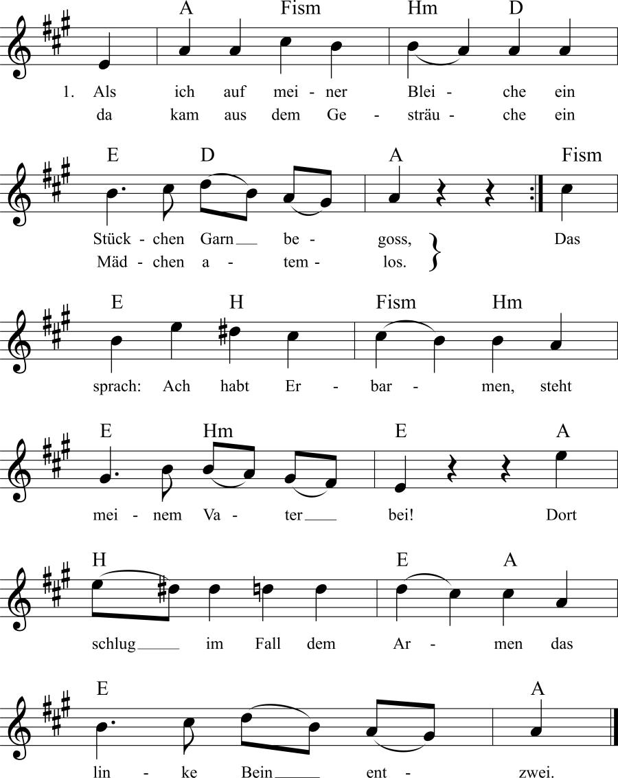 Musiknoten zum Lied Als ich auf meiner Bleiche