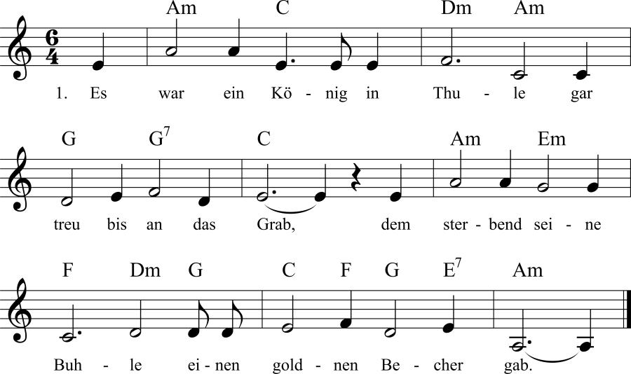 Musiknoten zum Lied Es war ein König in Thule