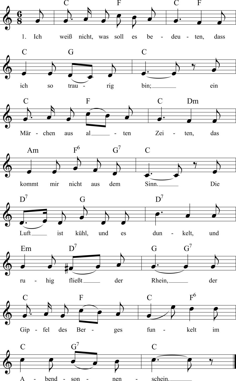 Musiknoten zum Lied Die Lorelei