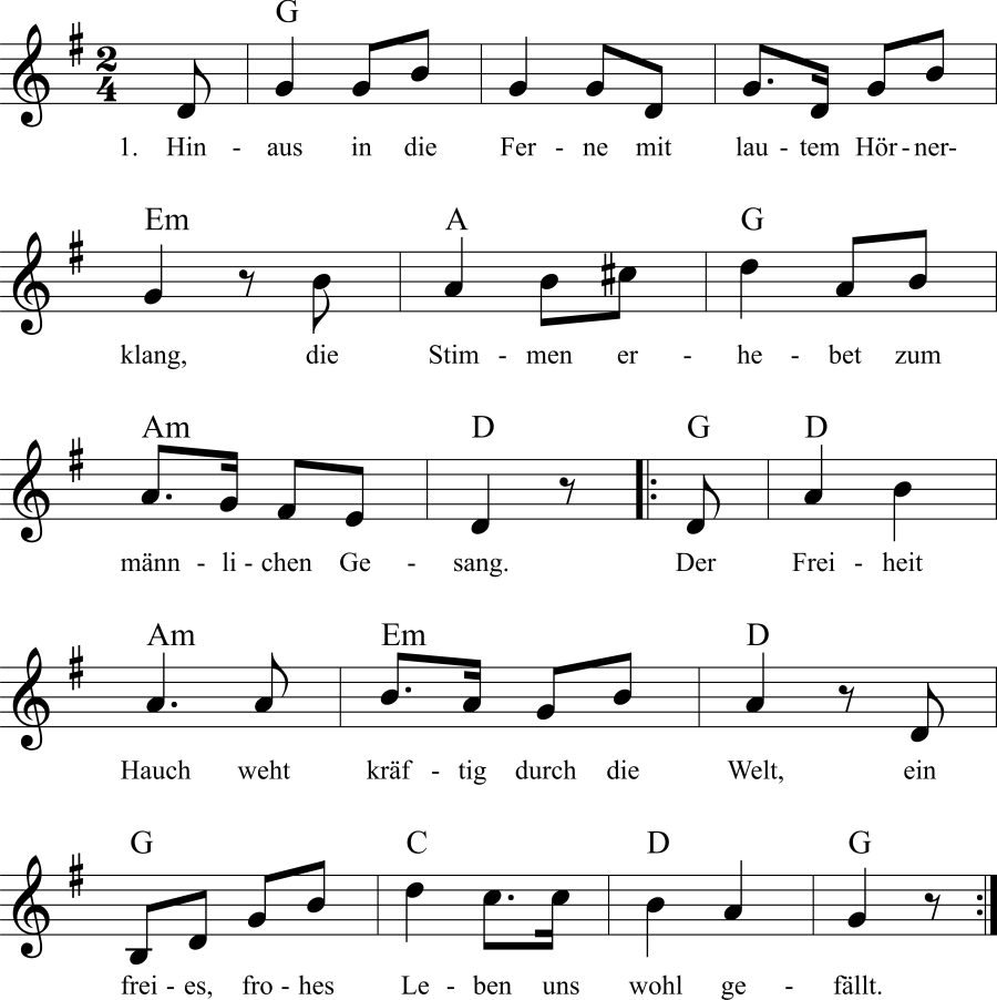 Musiknoten zum Lied Hinaus in die Ferne