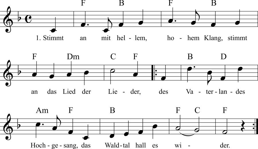 Musiknoten zum Lied Stimmt ein mit hellem, hohem Klang