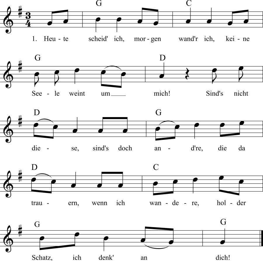 Musiknoten zum Lied Heute scheid' ich, morgen wand'r ich