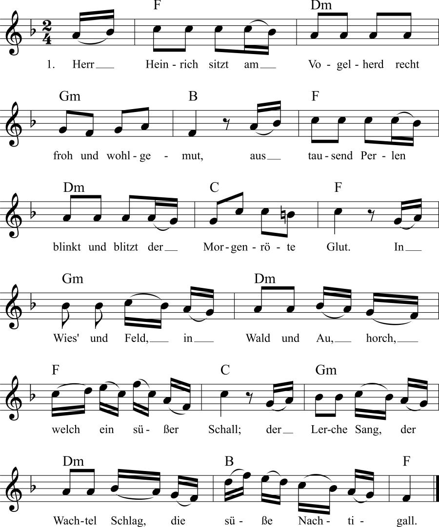 Musiknoten zum Lied Herr Heinrich sitzt am Vogelherd