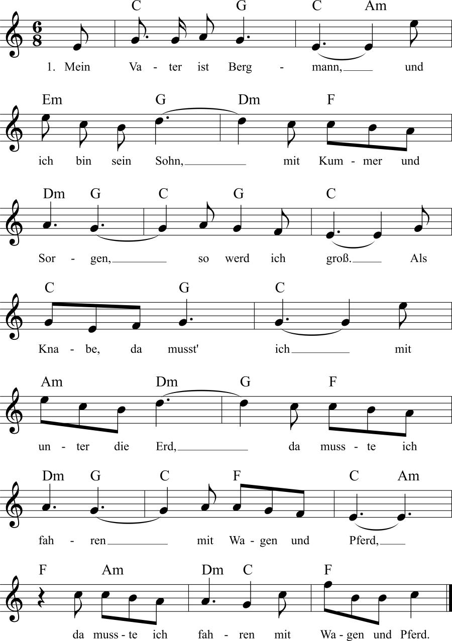 Musiknoten zum Lied Mein Vater ist Bergmann