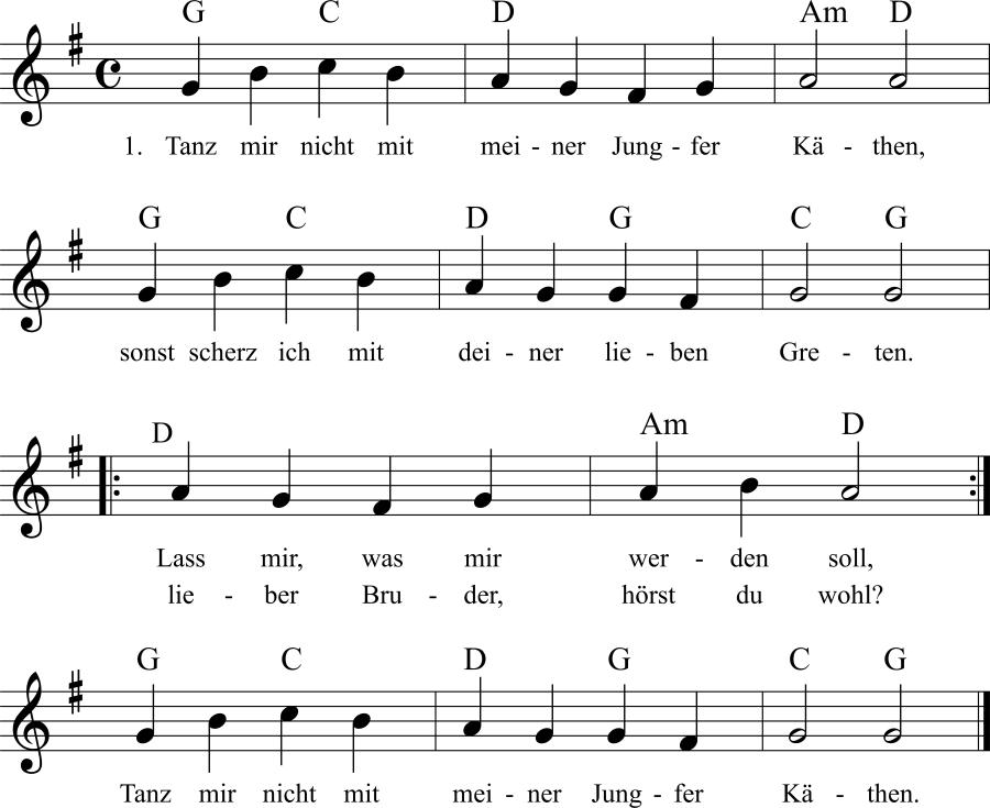 Musiknoten zum Lied Tanz mir nicht mit meiner Jungfer Käthen