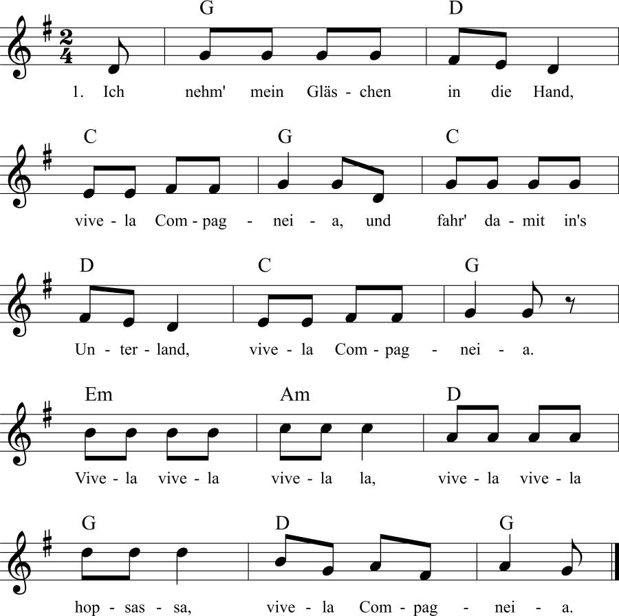 Musiknoten zum Lied Ich nehm' mein Gläschen in die Hand