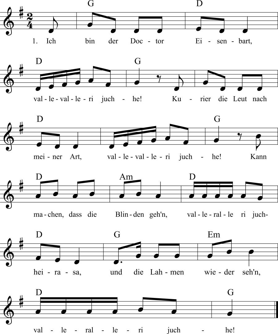 Musiknoten zum Lied Ich bin der Doktor Eisenbart