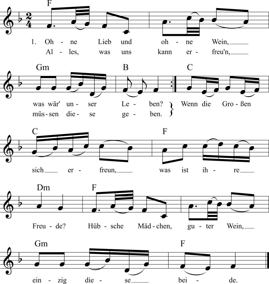 Musiknoten zum Lied Ohne Lieb und ohne Wein