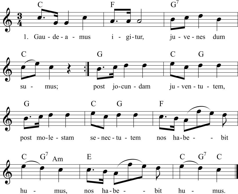 Musiknoten zum Lied Gaudeamus igitur