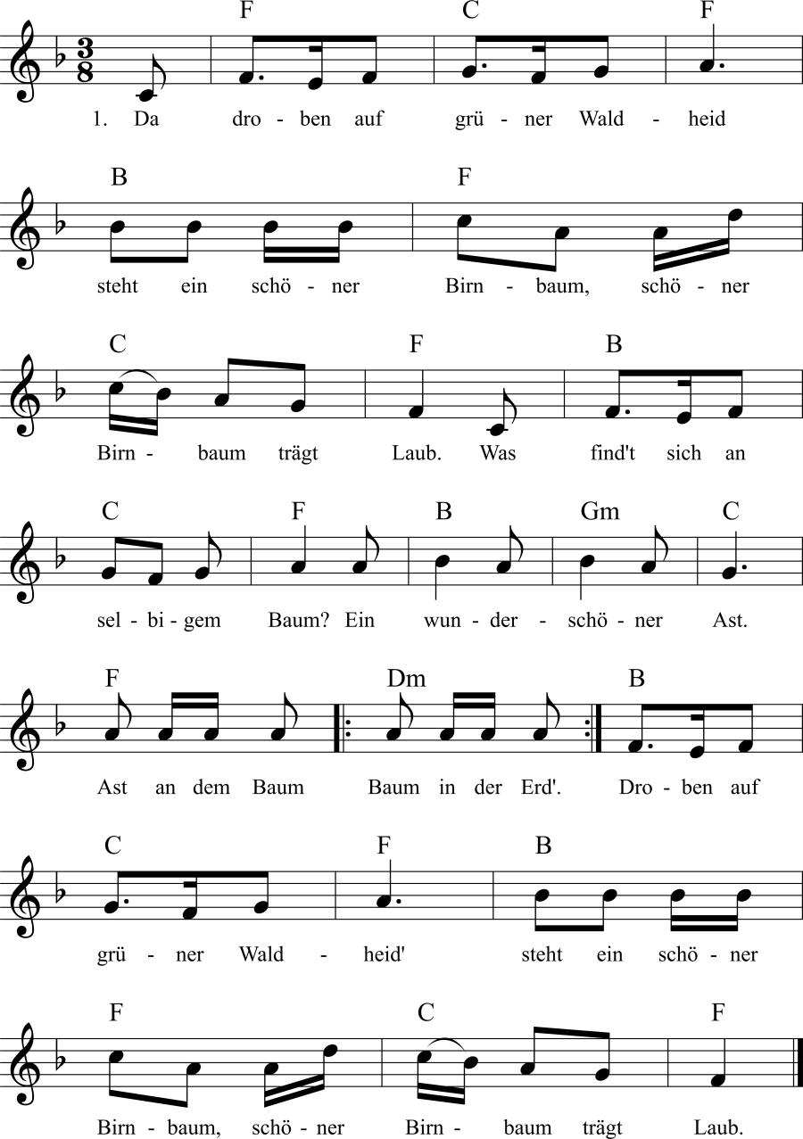 Musiknoten zum Lied Da droben auf grüner Waldheid