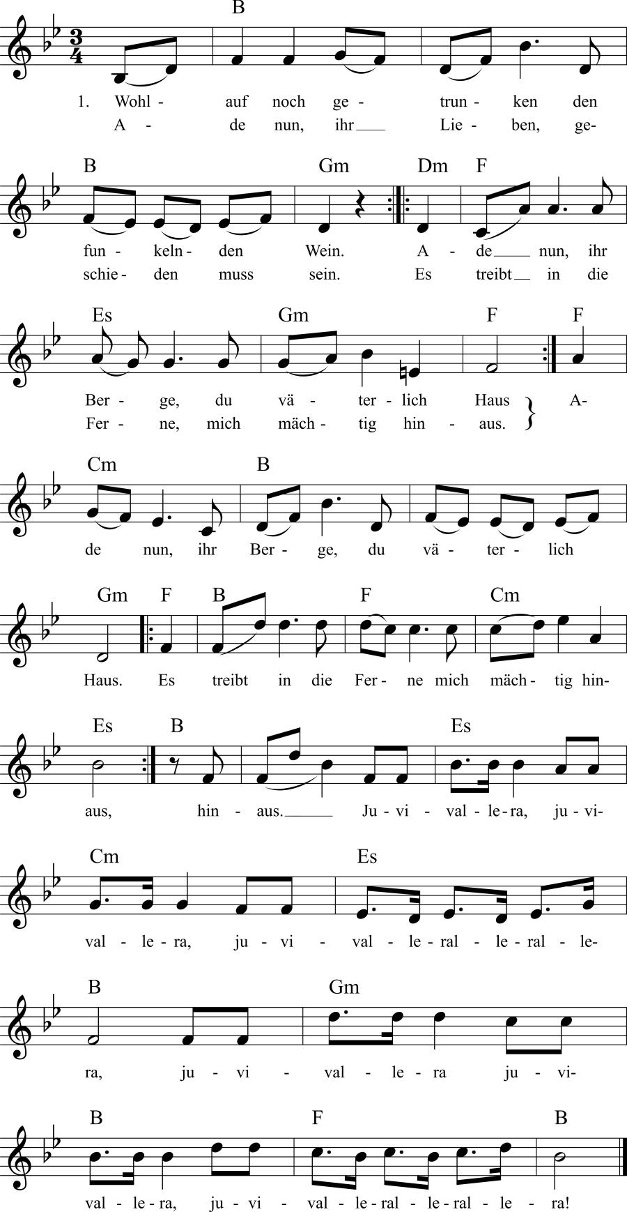 Musiknoten zum Lied Wohlauf noch getrunken