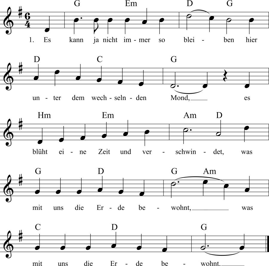 Musiknoten zum Lied Es kann ja nicht immer so bleiben