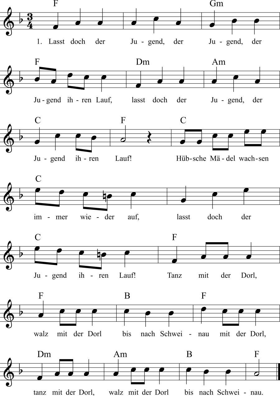 Musiknoten zum Lied Laßt doch der Jugend ihren Lauf