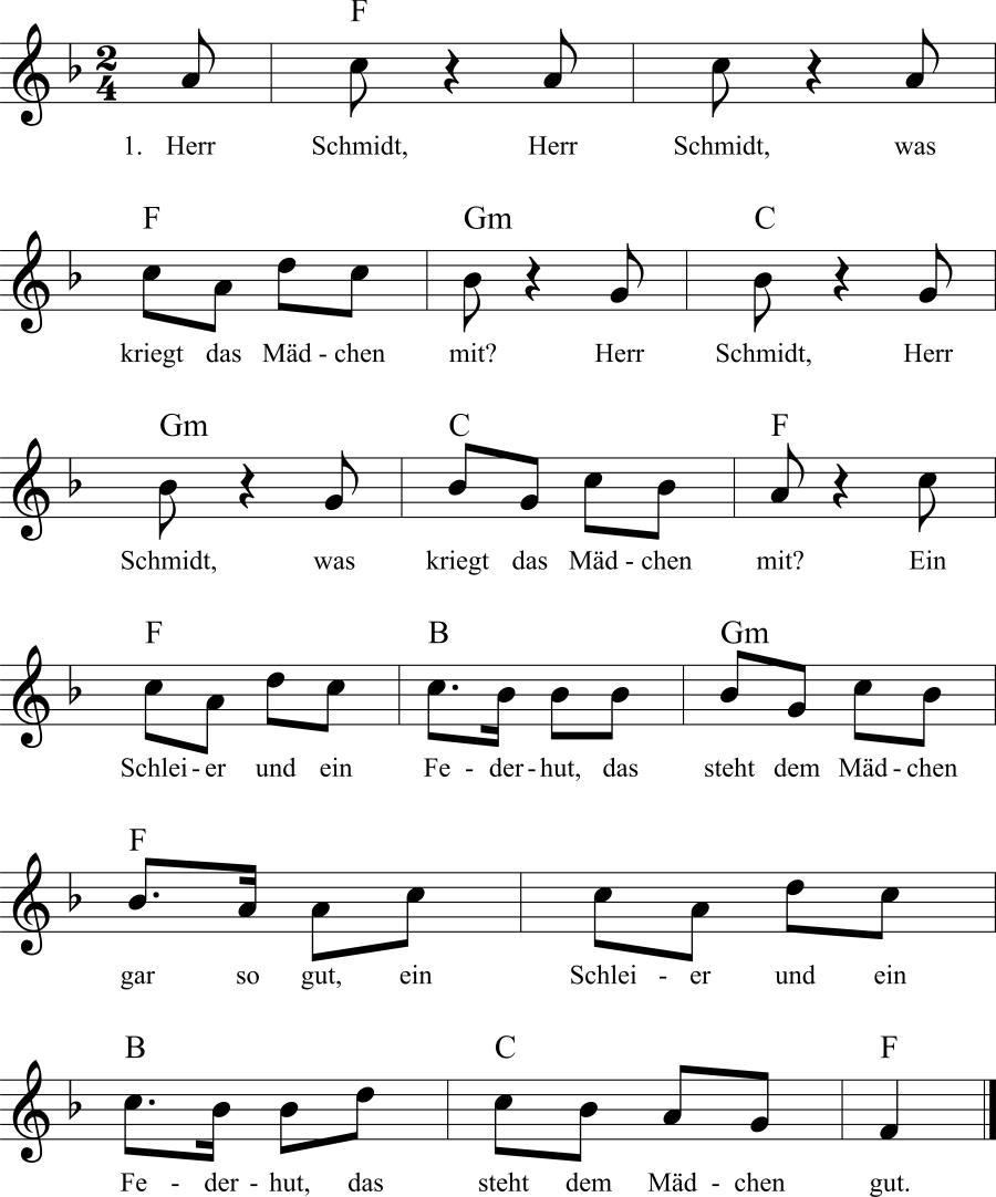 Musiknoten zum Lied Herr Schmidt, Herr Schmidt