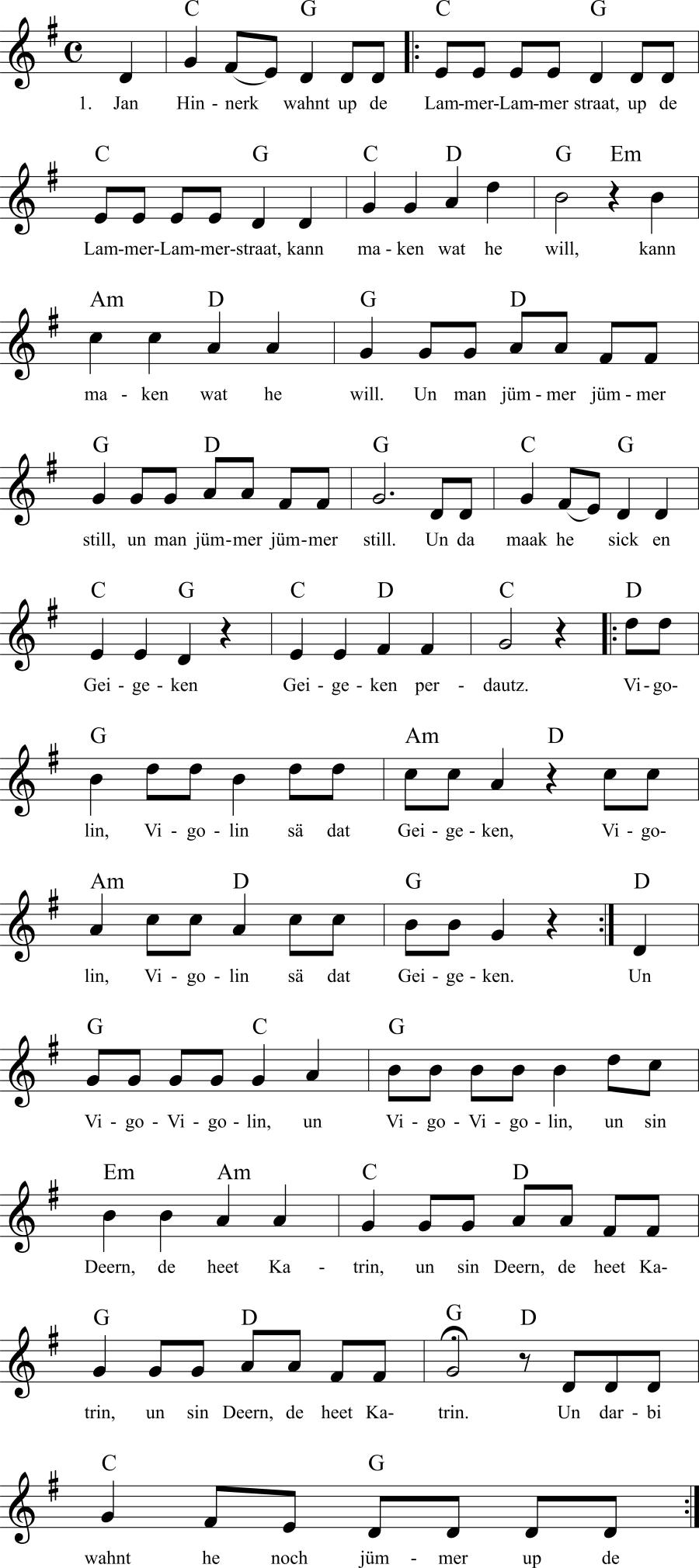 Musiknoten zum Lied Jan Hinnerk