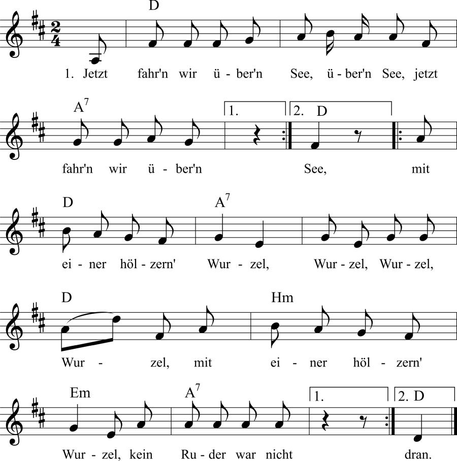 Musiknoten zum Lied Jetzt fahrn wir übern See