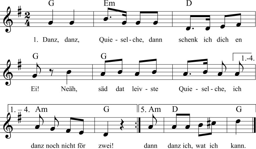 Musiknoten zum Lied Danz, danz Quieselche