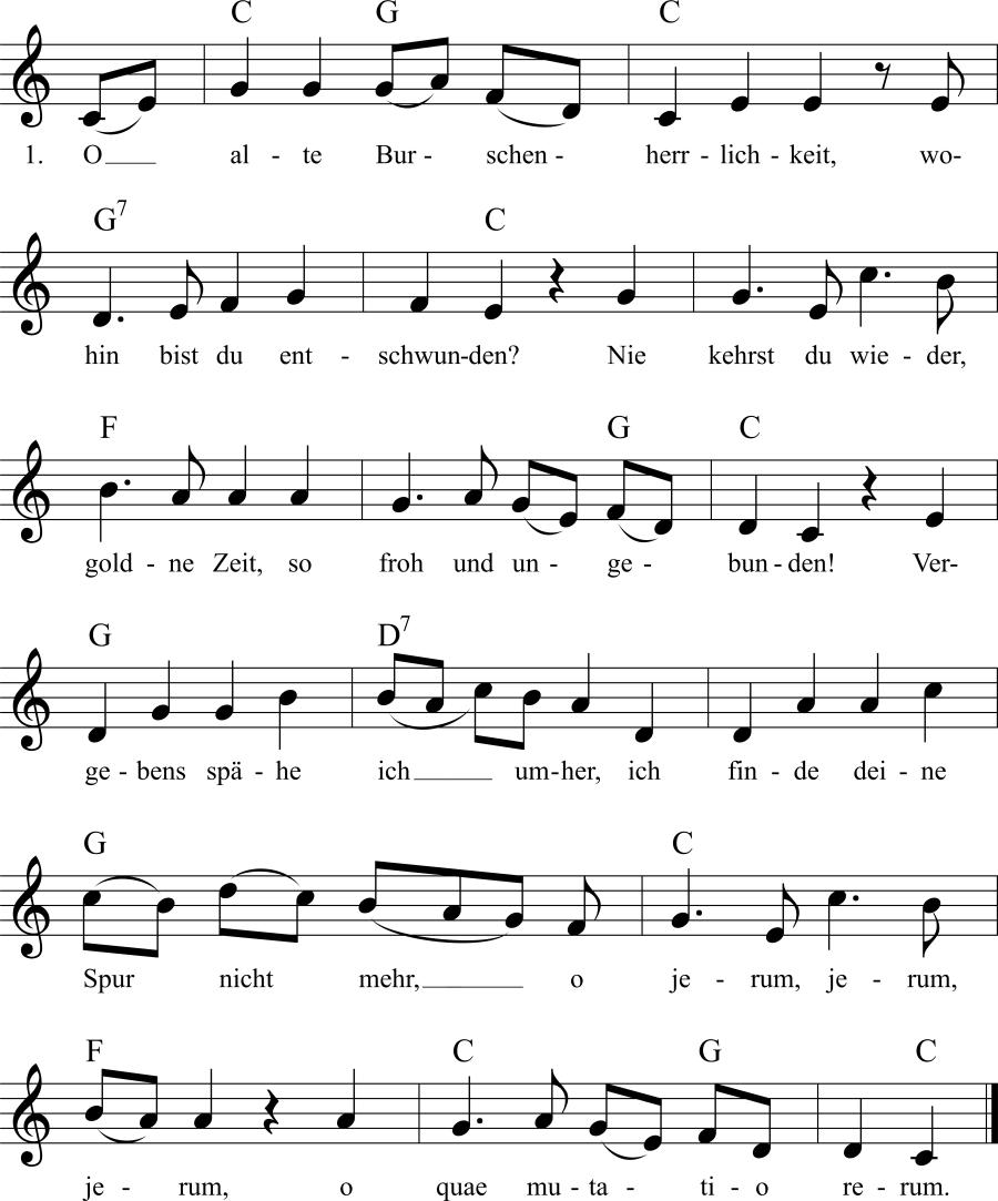 Musiknoten zum Lied O alte Burschenherrlichkeit