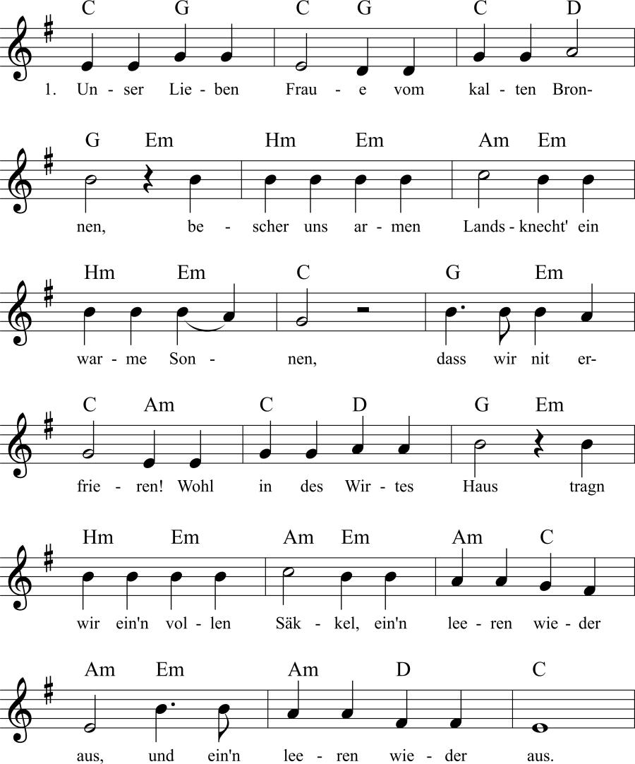 Musiknoten zum Lied Unser Lieben Fraue vom kalten Bronnen