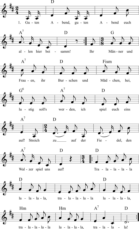 Musiknoten zum Lied Guten Abend, guten Abend