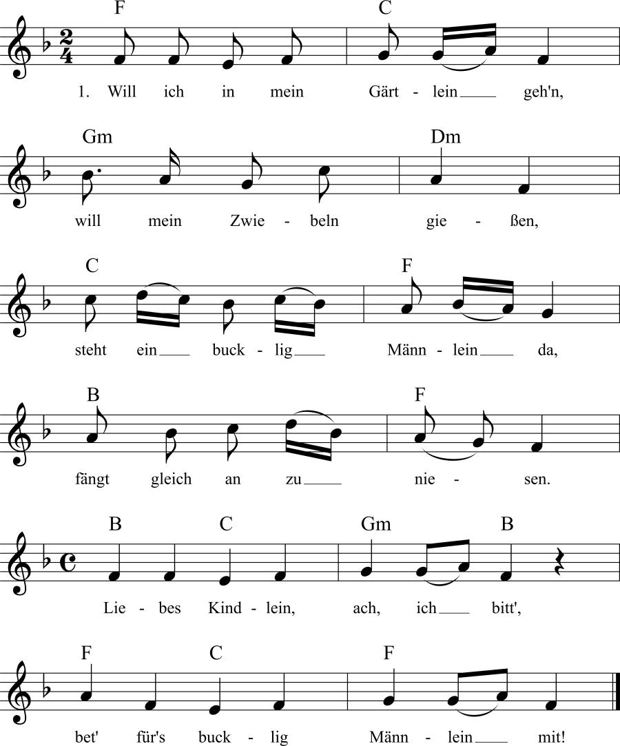 Musiknoten zum Lied Will ich in mein Gärtlein gehn