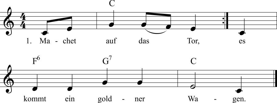Musiknoten zum Lied Machet auf das Tor