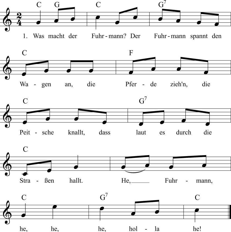 Musiknoten zum Lied Was macht der Fuhrmann?